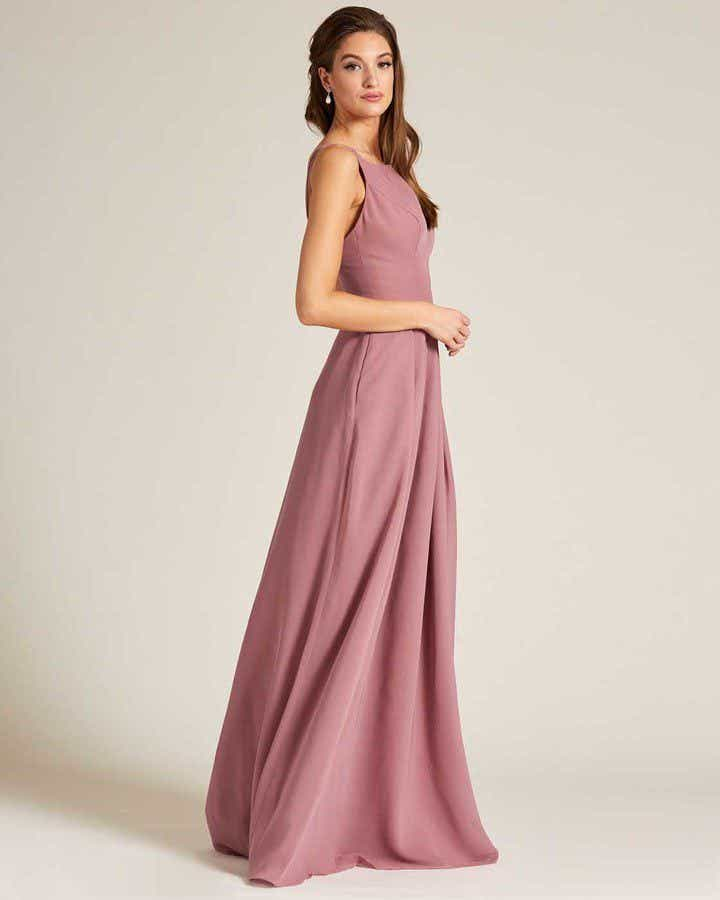 Mauve Thin Straps Long Skirt Gown - Side