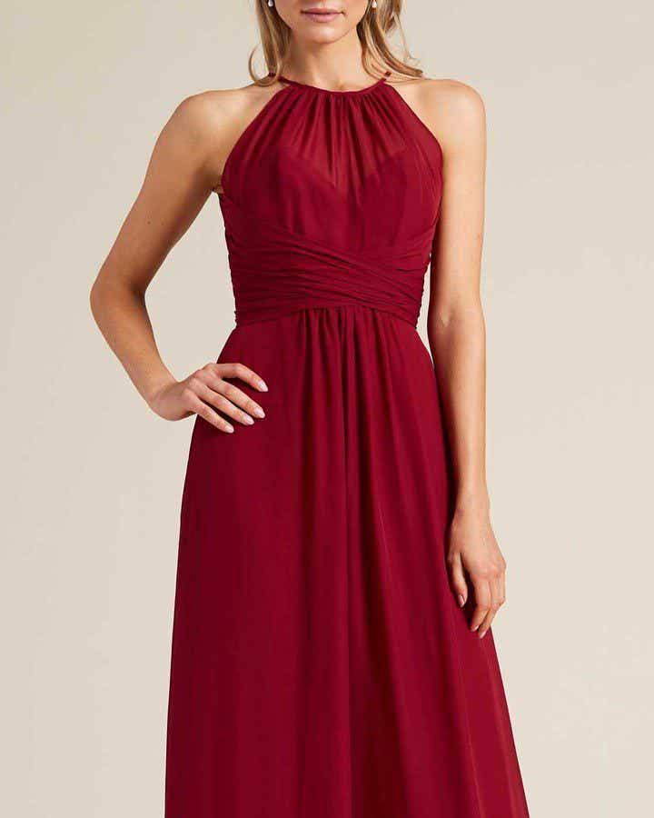 Burgundy Sleeveless Bow Detail Evening Gown - Detail