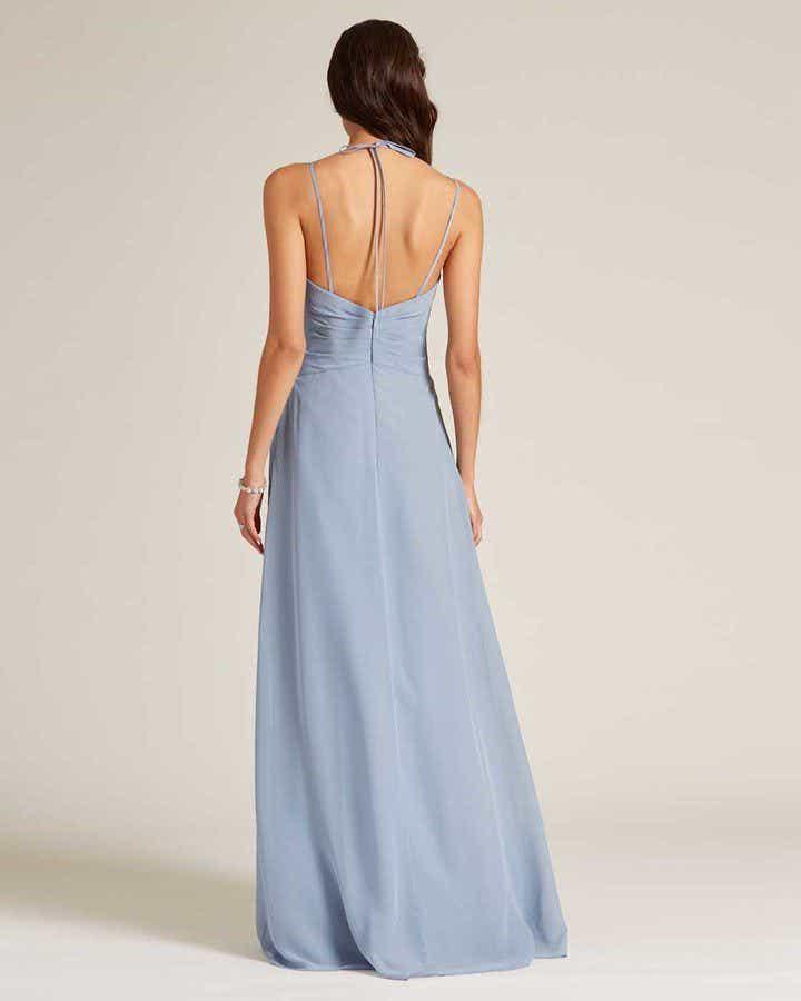 Light Blue Criss Cross V Neck Style Formal Gown - Back