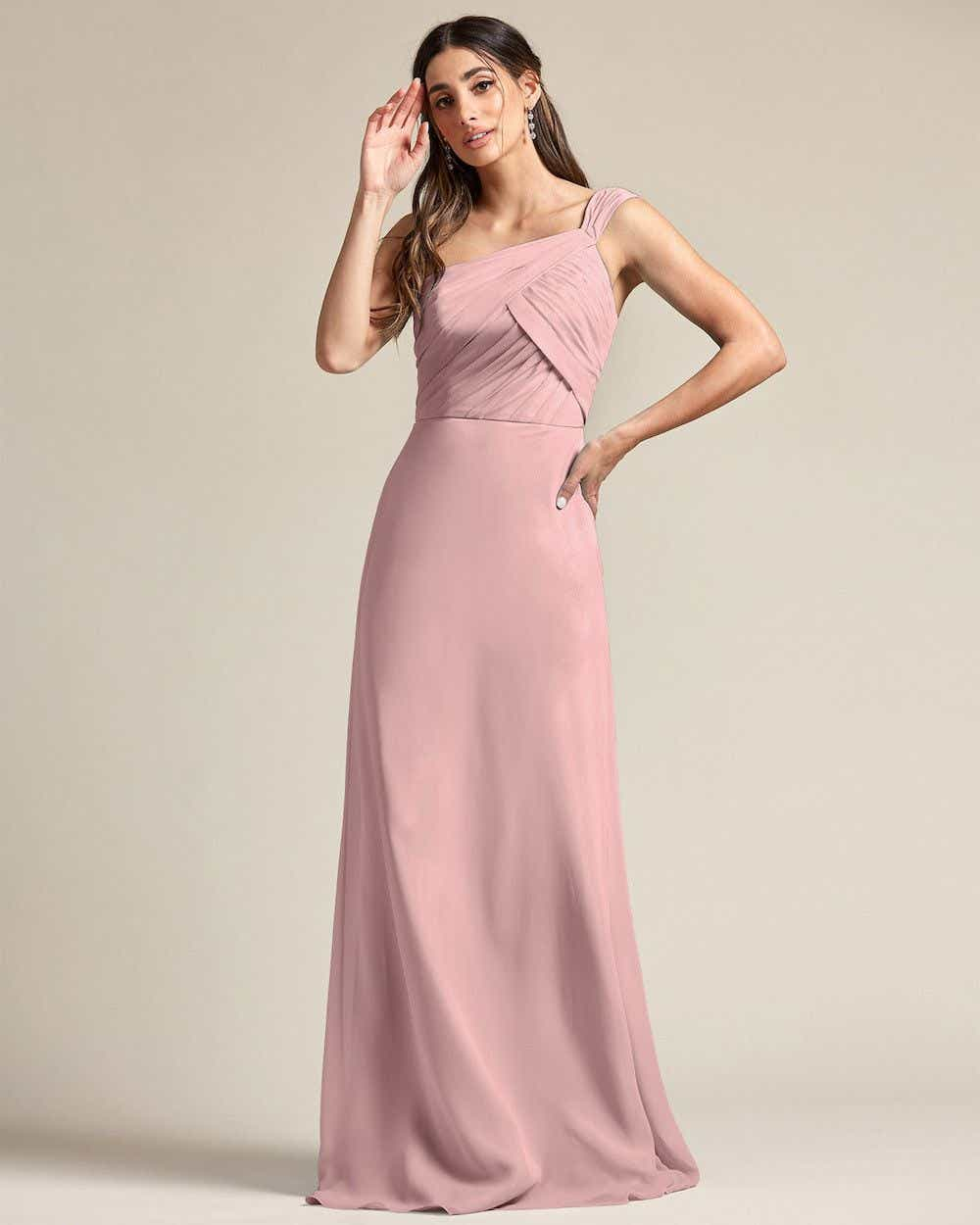 One Shoulder Strap Pleated Top Long Skirt Maid of Honor Dress - Front