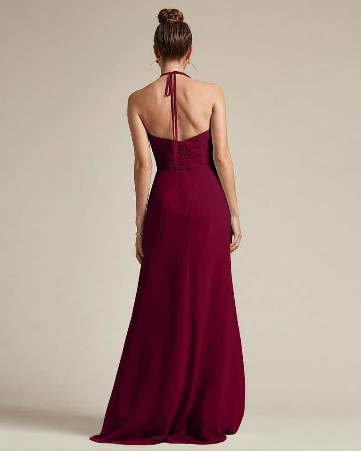 Sexy Halter Top With Embroidery Long Chiffon Skirt Bridesmaid Dress - Back