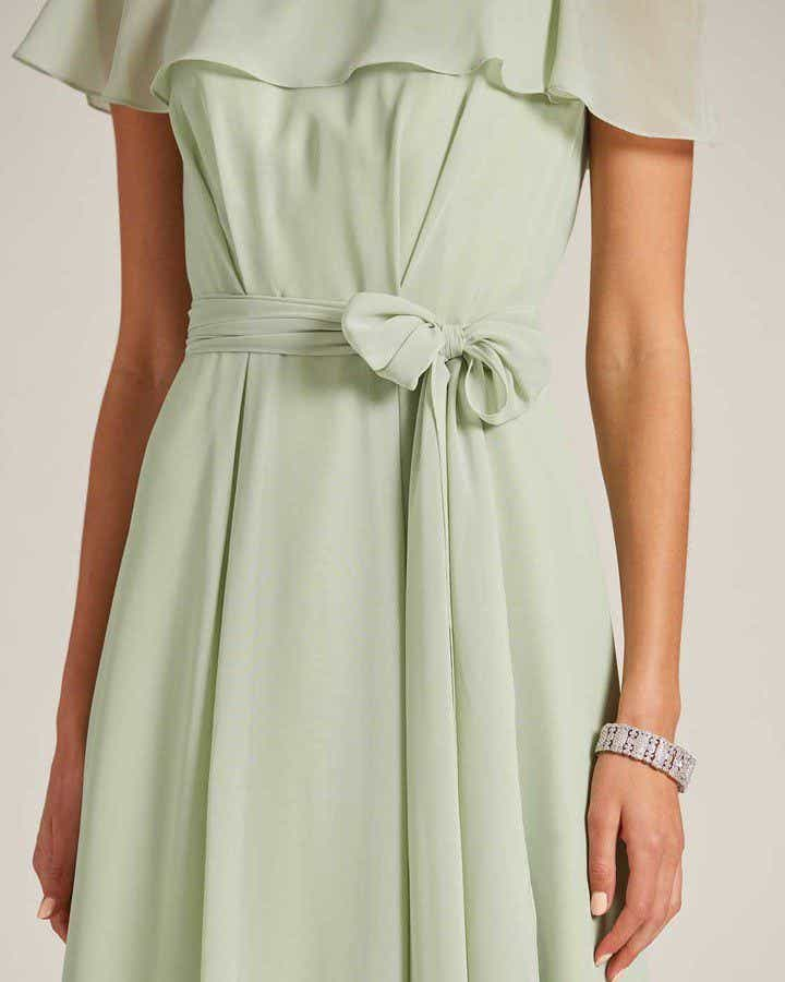 Sage Green Flounce Top Evening Gown - Detail