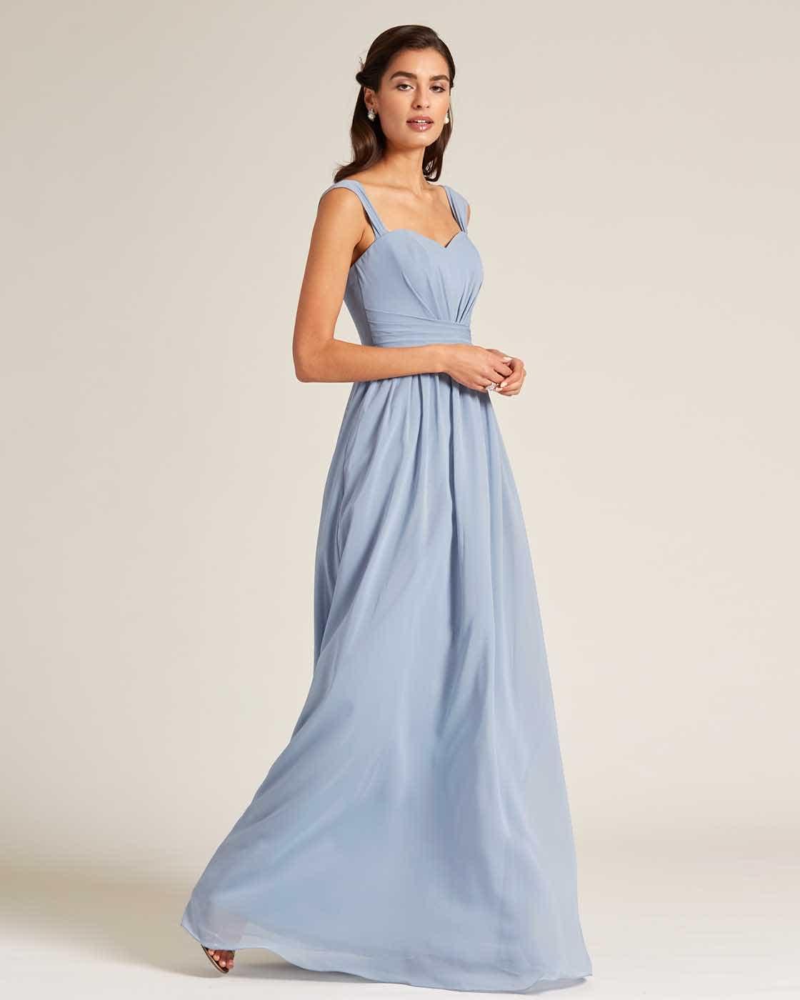 Blue Thick Strap Sweetheart Neckline Dress - Side