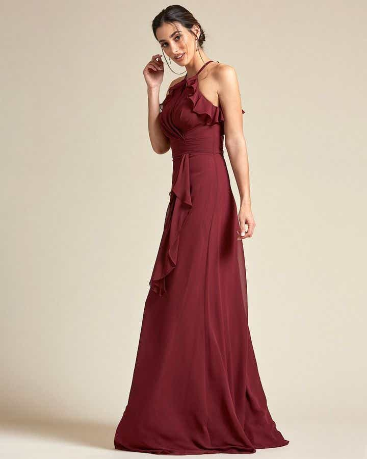 Racerback Design With Flowy Detail Long Skirt Maid of Honor Dress - Side