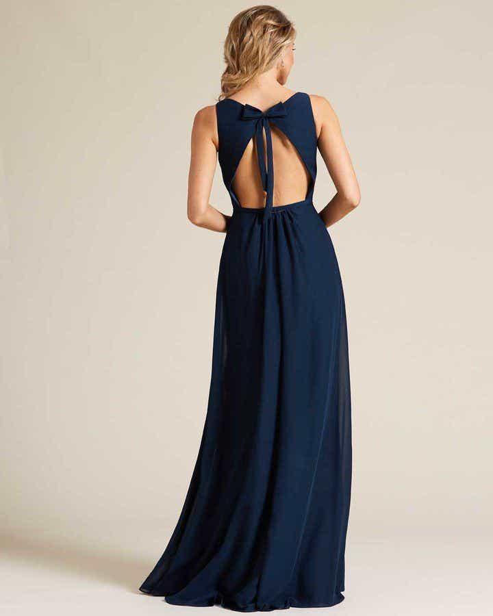 Blue Plunging V Neck Cut Out Dress - Back