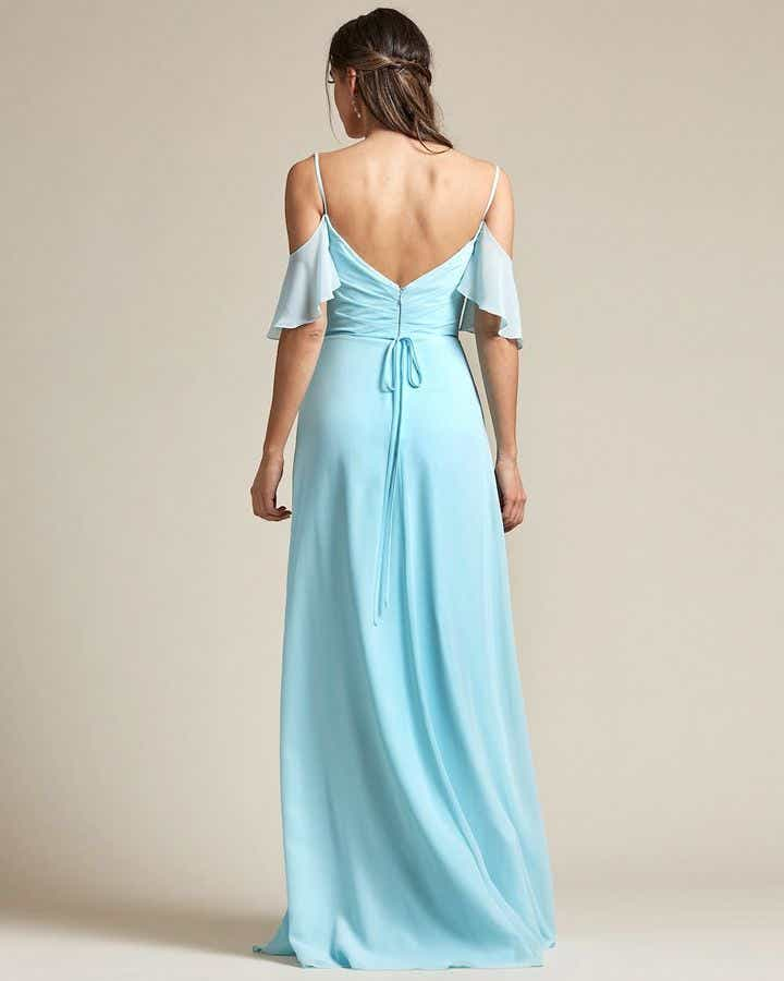 Thin Strap Cold Shoulder Design With Floundering Sleeves Bridesmaid Gown - Back