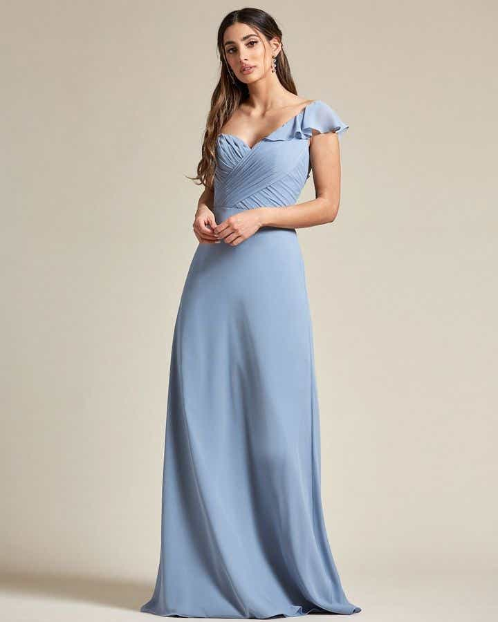 One Strap Cap Sleeve Maxi Dress - Front