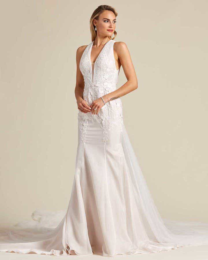 Classic Style Off White Mermaid Wedding Dress - Front