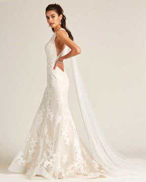 White Plunging V Neck Line Wedding Gown - Detail Front