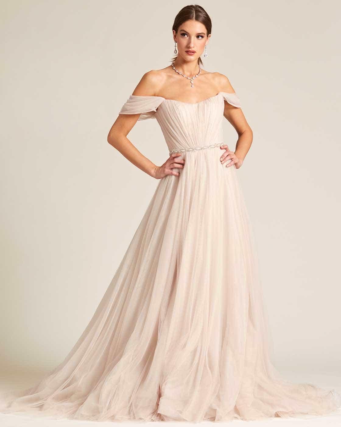 Beige Off Shoulder Ruched Formal Gown - Front