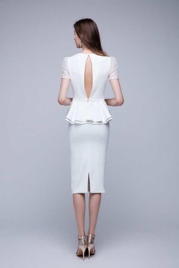 White Two-Piece Wedding Dress - Back