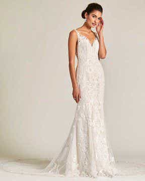 Vintage Style White Applique Wedding Gown - Front