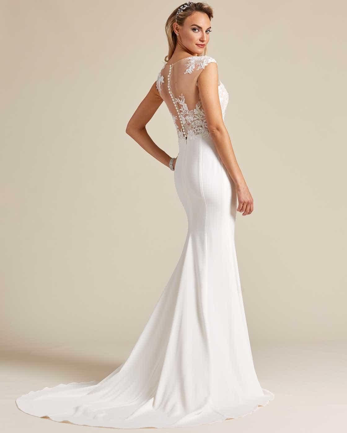 Cream White Button Down Back Wedding Dress - Back