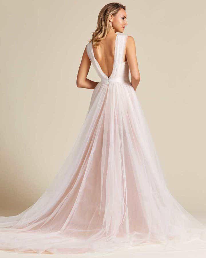Blush White Chiffon Wedding Gown - Back