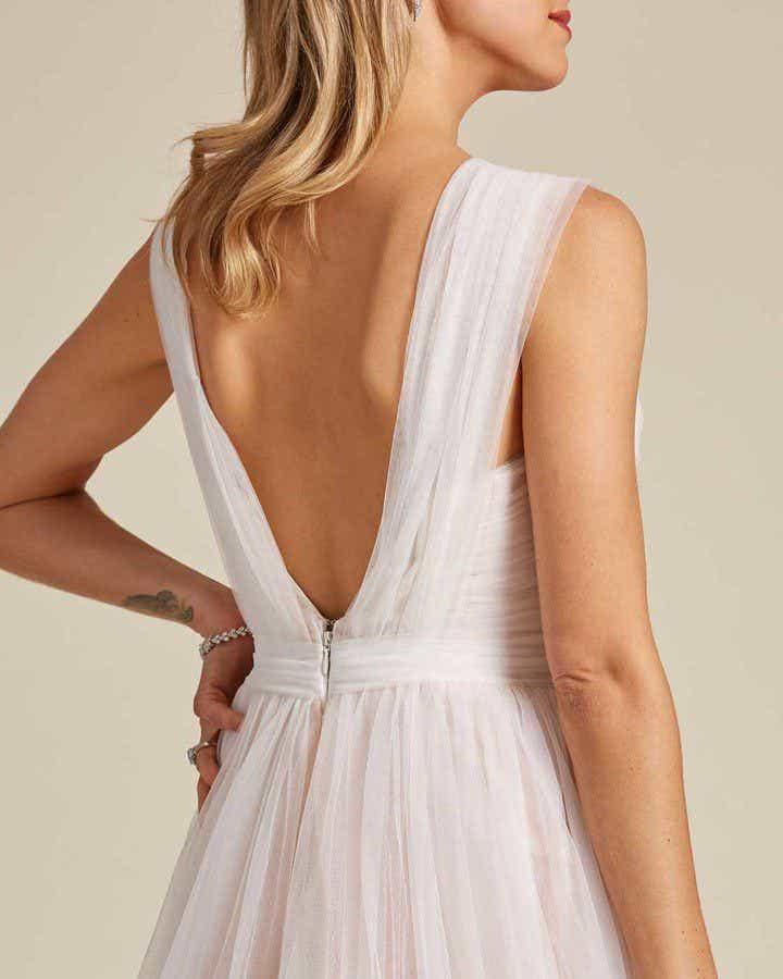 Blush White Chiffon Wedding Gown - Detail Back