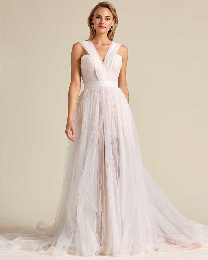 Blush White Chiffon Wedding Gown - Front