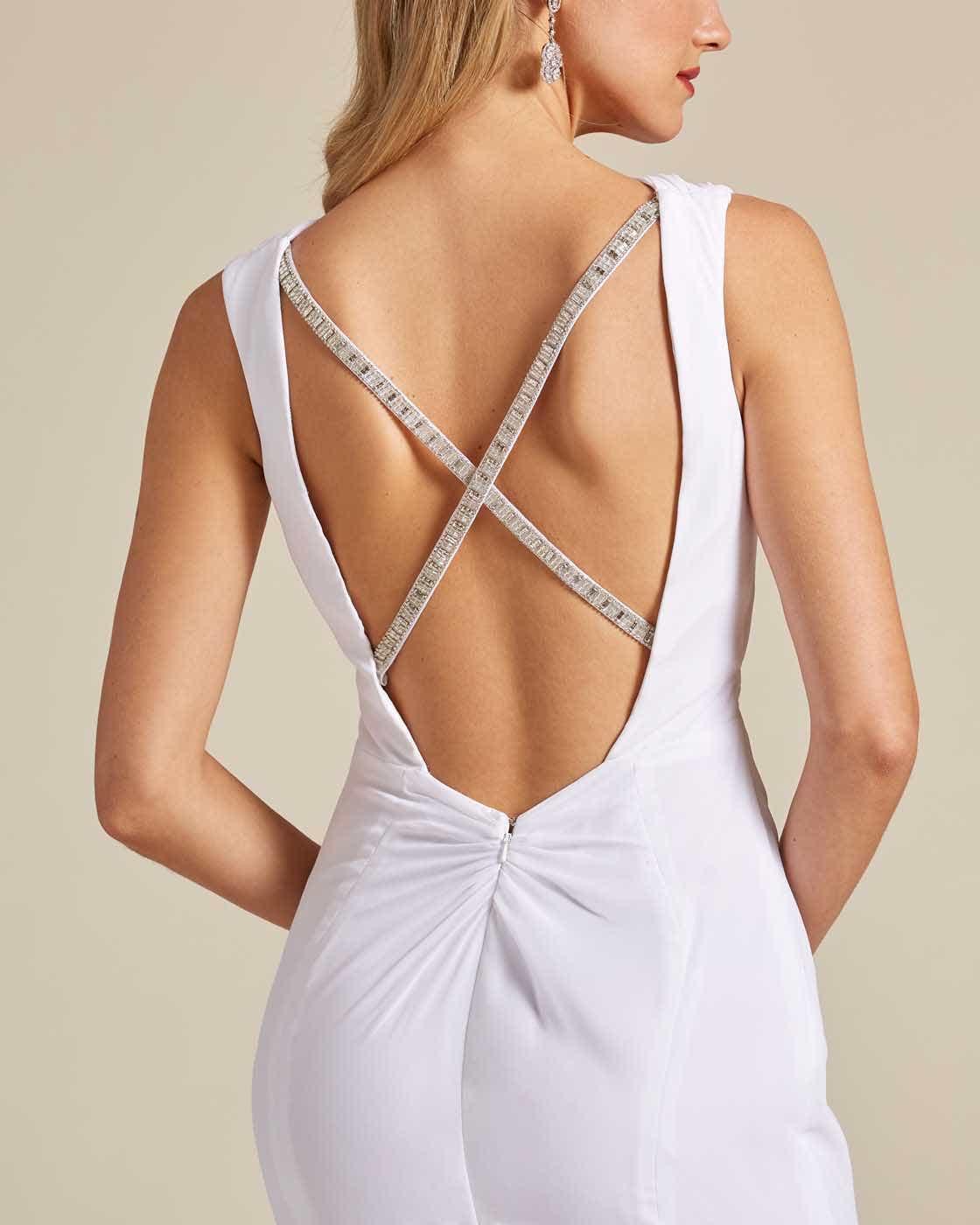 Ivory White Criss Cross Wedding Dress - Detail
