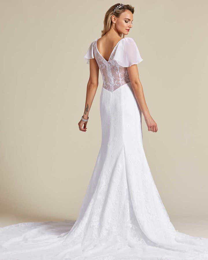 White Sheer Cap Sleeve Wedding Gown - Back