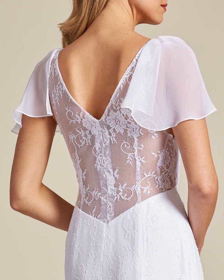 White Sheer Cap Sleeve Wedding Gown - Detail