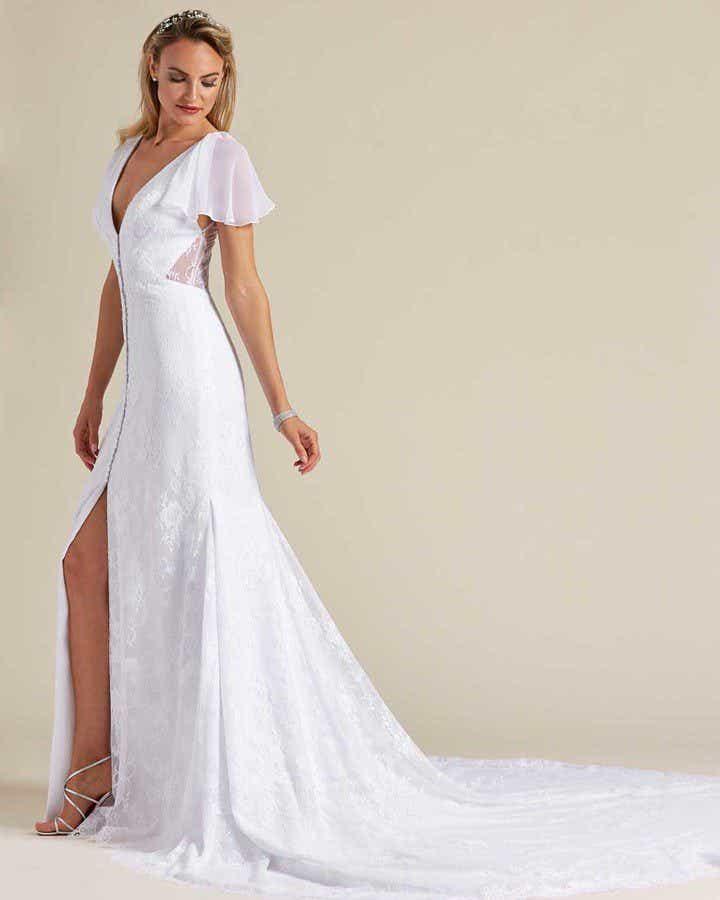 White Sheer Cap Sleeve Wedding Gown - Side
