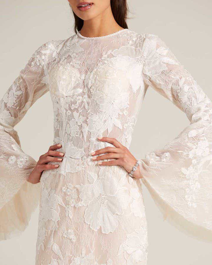 Champagne Bell Sleeves Embroidered Wedding Dress - Detail