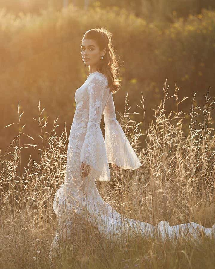 Champagne Bell Sleeves Embroidered Wedding Dress - Editorial