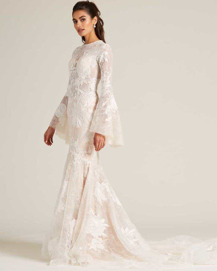 Champagne Bell Sleeves Embroidered Wedding Dress - Side