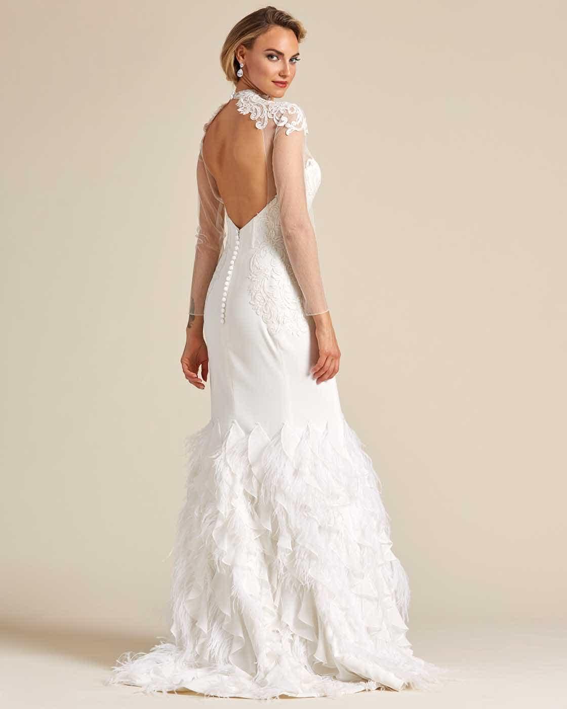 White Ivory Ruffled Mermaid Tail Wedding Gown - Back