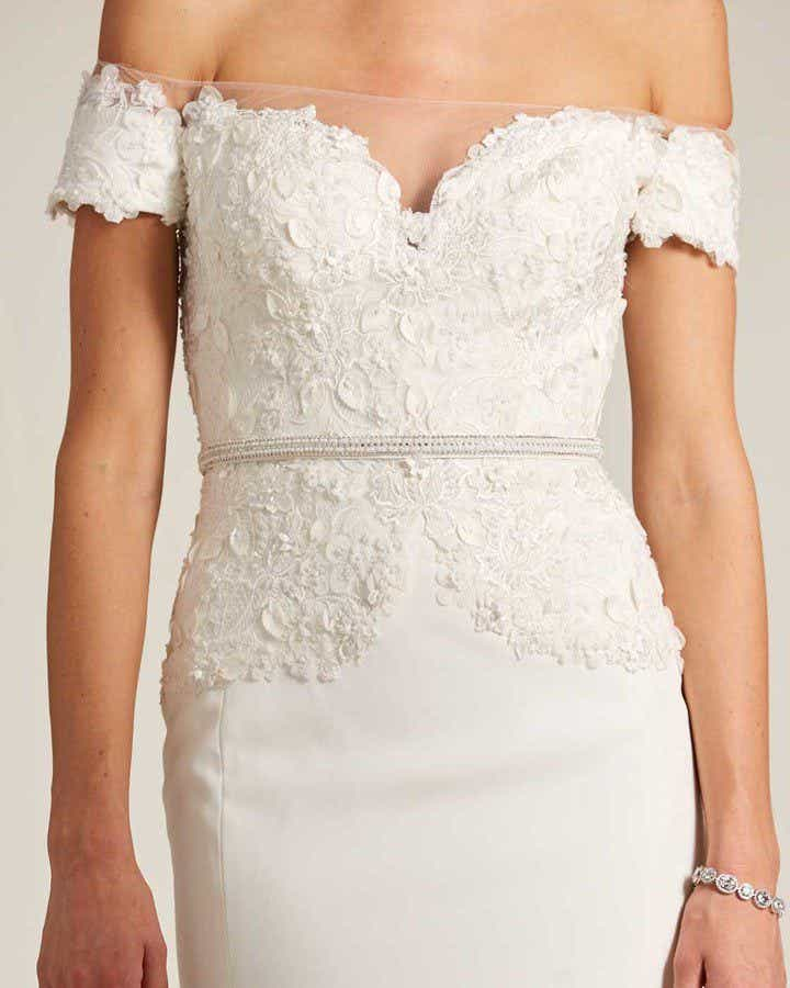 White Sweetheart Feather Skirt Wedding Gown - Detail Front