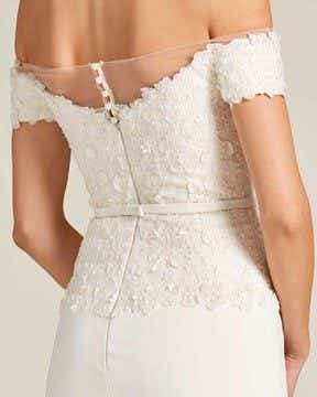 White Sweetheart Feather Skirt Wedding Gown - Detail